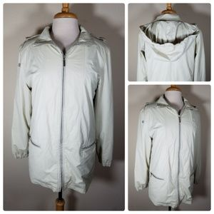 Giacca Cream Rain Jacket Coat Hooded Zip Ip
